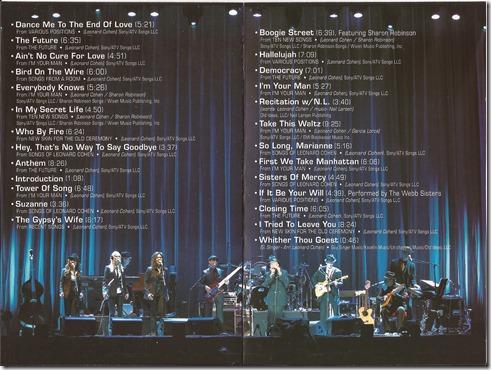 Leonard Cohen - Live In London - Inlay 3