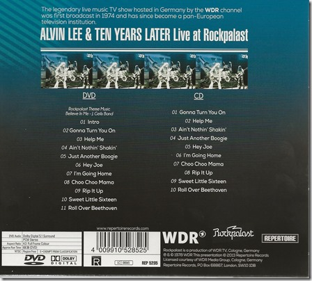 Alvin Lee & Ten Years Later - Live At Rockpalast - Back